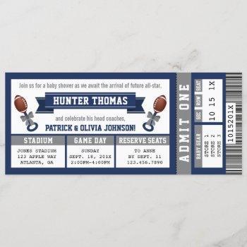 Sports Ticket Baby Shower , Blue, Gray