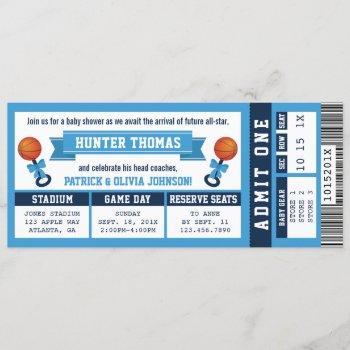 Sports Ticket Baby Shower Invitation, Blue Invitation