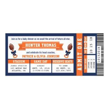 Sports Ticket Baby Shower Invitation, Blue, Orange Invitation