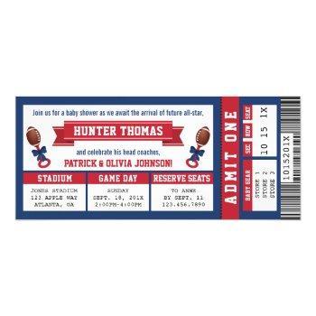 Sports Ticket Baby Shower Invitation, Blue, Red Invitation