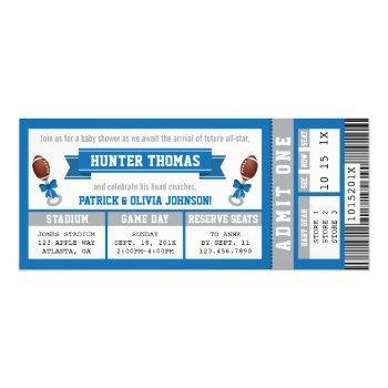 Sports Ticket Baby Shower Invitation, Blue, Silver Invitation