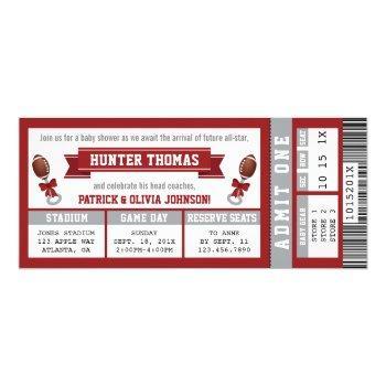 Sports Ticket Baby Shower Invitation, Crimson Invitation