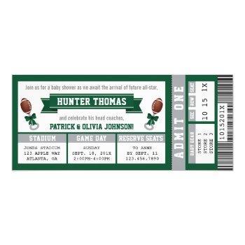 Sports Ticket Baby Shower Invitation, Hunter Green Invitation