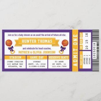Sports Ticket Baby Shower , Purple, Gold