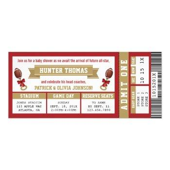 Sports Ticket Baby Shower Invite Scarlet, Gold