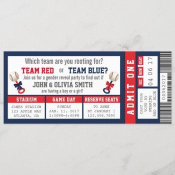 Sports Ticket Gender Reveal Invitation, Baseball Invitation