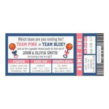 Sports Ticket Gender Reveal Invitation, Basketball Invitation