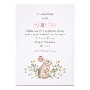 Spring Woodland Rabbit Baby Girl Shower Invitation
