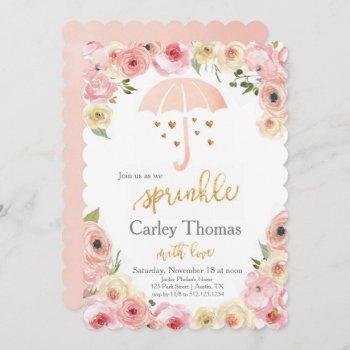 Sprinkle Baby Shower Pastel Floral Gold Glam Invitation