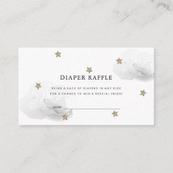 Star & Gray Cloud Baby Shower Diaper Raffle Ticket Enclosure Card
