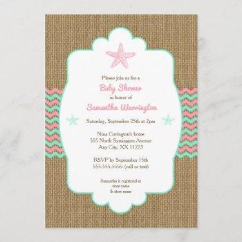 Starfish Girl Baby Shower Invites Pink Mint Burlap