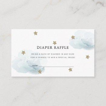 Stars & Clouds Baby Shower Diaper Raffle Ticket Enclosure Card