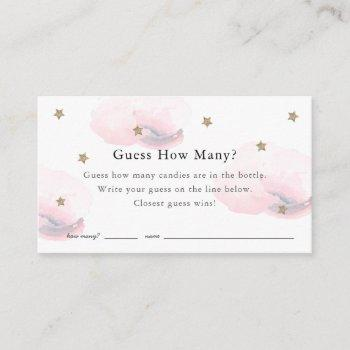 Stars Clouds Guess How Many Pink Baby Shower Game Enclosure Card