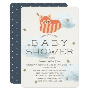 Stars & Clouds Red Panda Baby Shower Invitation