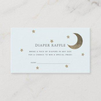 Stars & Moon Baby Shower Blue Diaper Raffle Ticket Enclosure Card