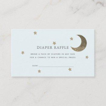 Stars & Moon Baby Shower Blue Diaper Raffle Ticket Enclosure Card