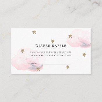 Stars Pink Clouds Baby Shower Diaper Raffle Ticket Enclosure Card