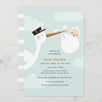 Stork Baby Shower  With Clouds