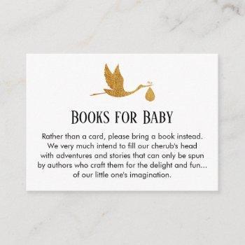 Stork In Faux Gold Foil, Book Request Insert Cards