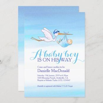 Stork With Baby Boy Baby Shower