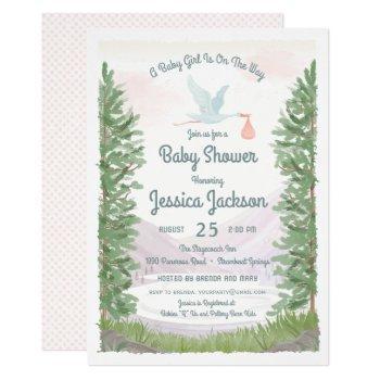 Stork's Journey Baby Girl Shower Invitation