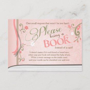 Storybook Bring A Book Vintage Pink And Gold Girl Enclosure Card