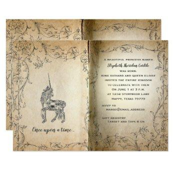 Storybook Perfect Unicorn Baby Girl Shower Invitation