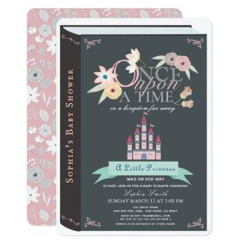 Storybook Princess Castle Black Girl Baby Shower Invitation