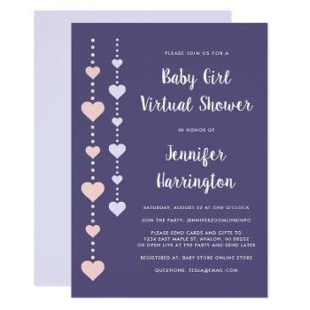 String Hearts Pink Purple Virtual Baby Girl Shower Invitation
