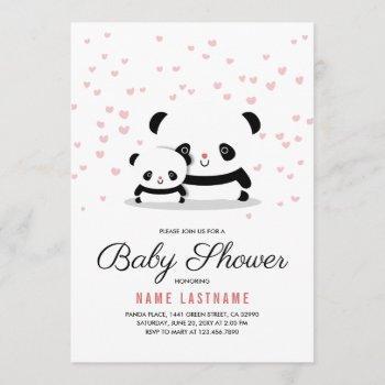 Stylish Cute Panda Bear Girl Baby Shower Invite
