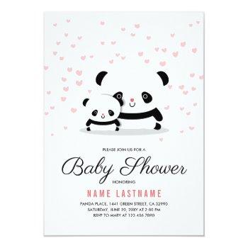 Stylish Cute Panda Bear Girl Baby Shower Invite