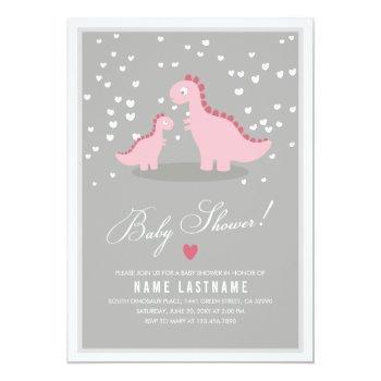 Stylish Pink Dino Girl Baby Shower Invite