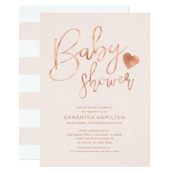 Stylish Rose Gold Foil Pink Blush Baby Shower Invitation