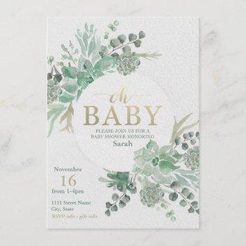 Succulent Baby Shower  - Floral Invite