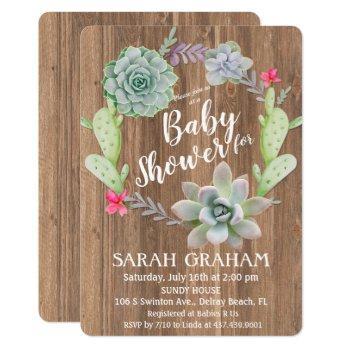 Succulent Cactus Wreath Baby Shower Invitation