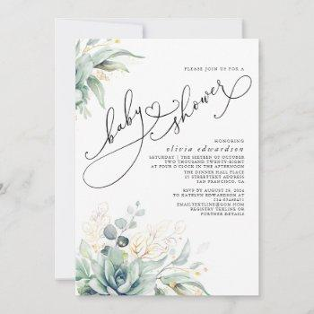 Succulents Greenery Cute Elegant Baby Shower Invitation