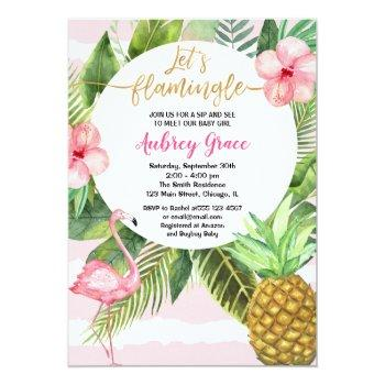 Summer Sip And See, Pink Gold Meet Greet Baby Girl Invitation
