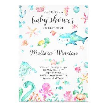 Summer Under The Sea Baby Shower Neutral Invitation