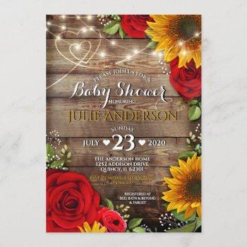 Sunflower And Rose Rustic Baby Shower
