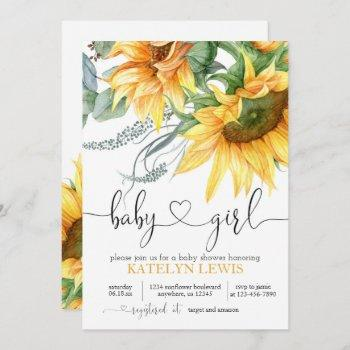 Sunflower Baby Shower Invitation For A Girl