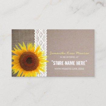 Sunflower Burlap & Lace Baby Shower Gift Registry Enclosure Card