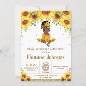 Sunflower Cute African American Girl Baby Shower