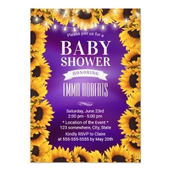 Sunflower Floral Elegant Purple Baby Shower Invitation