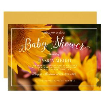 Sunflower Floral Photo Pink Yellow Baby Shower Invitation