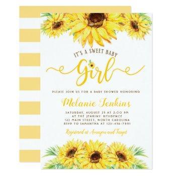 Sunflower Girl Summer Floral Baby Shower Invitation