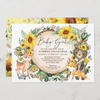 Sunflower Greenery Woodland Animals Baby Shower Invitation