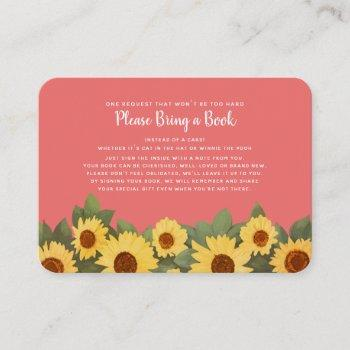 Sunflower Spring Baby Shower  Please Bring A Book Business Card