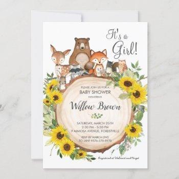 Sunflower Woodland Animals Baby Shower Girl Invitation