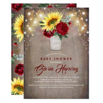Sunflowers Burgundy Red Rustic Fall Baby Shower Invitation