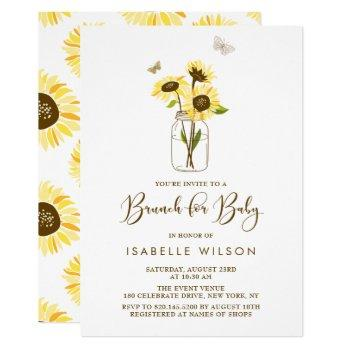 Sunflowers On Mason Jar Summer Baby Shower Brunch Invitation